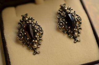 Schöne Alte Ausgefallene Granat Ohrringe Ohrclips Silber Bild