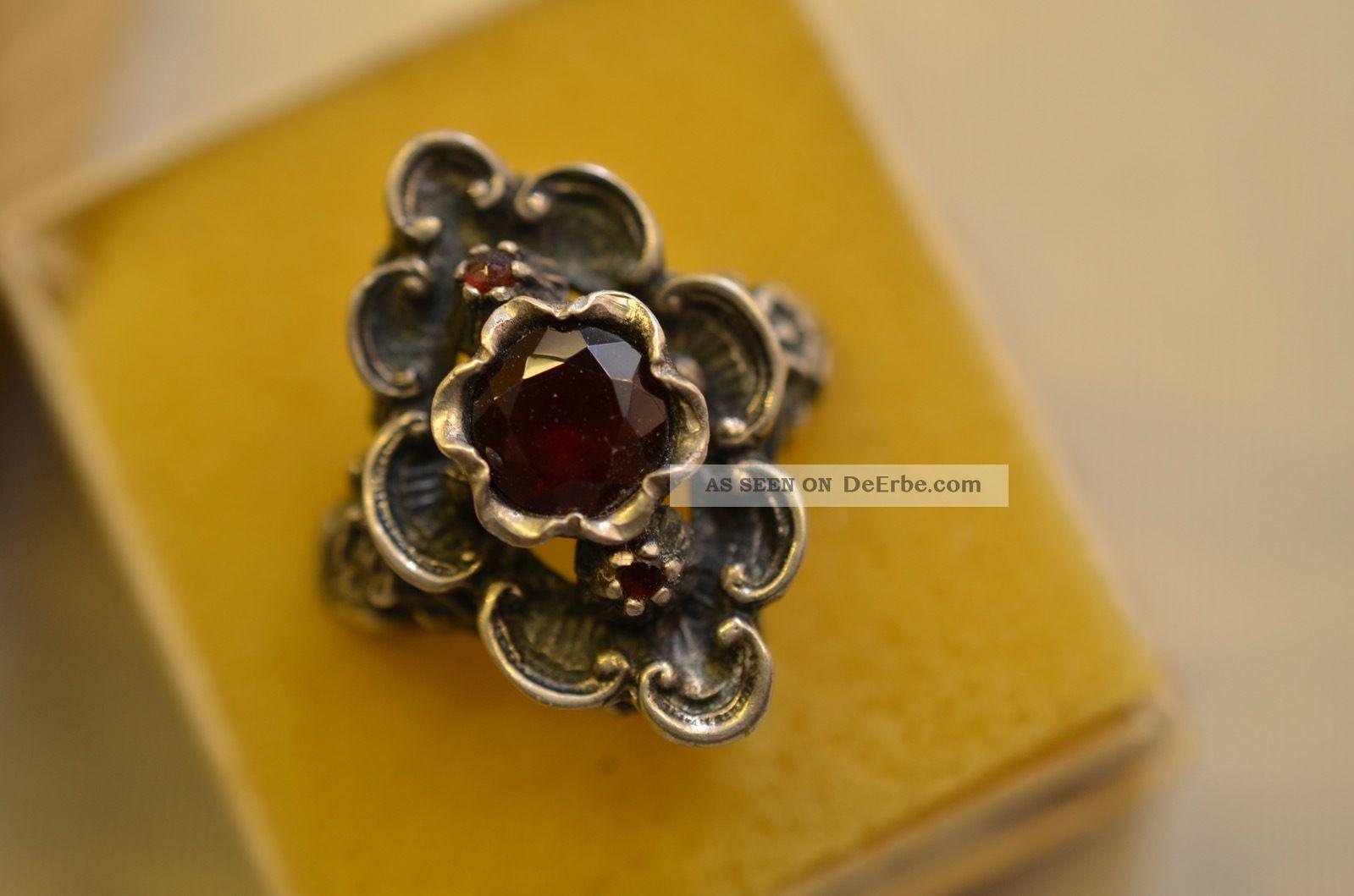 Schöner Alter Ausgefallener Granat Damenring Silber 800 Ringe Bild