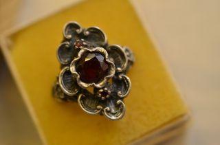 Schöner Alter Ausgefallener Granat Damenring Silber 800 Bild