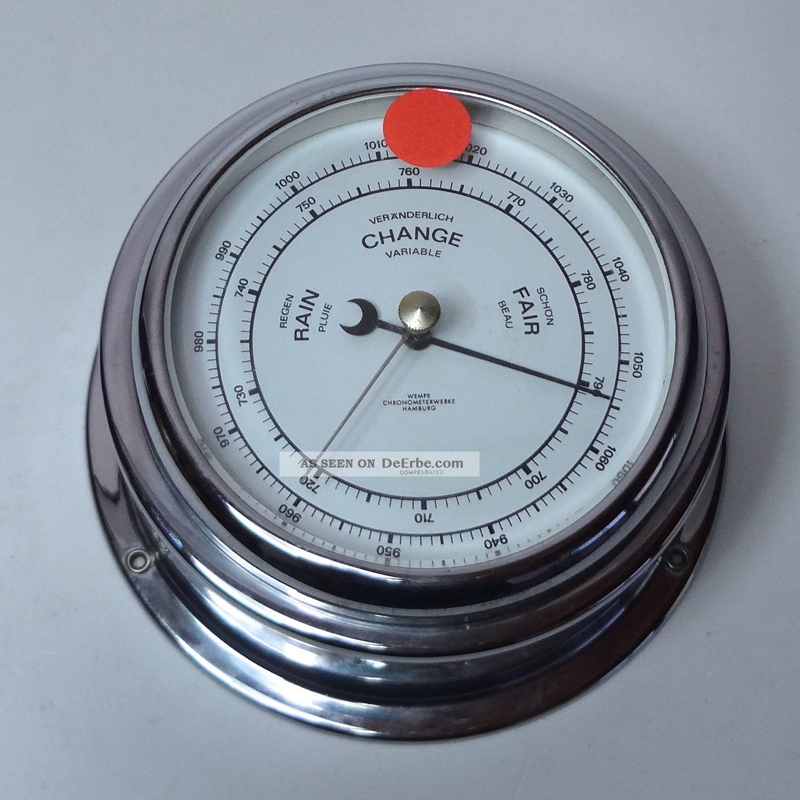 Barometer Von Wempe Hamburg Compensated Silber 15 Cm Durchmesser Technik & Instrumente Bild
