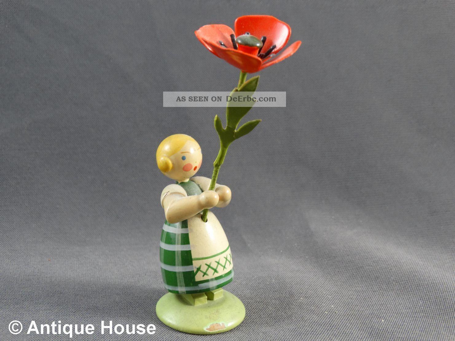 Erzgebirge We - Ha Kunst Dresden Blumenkind Mit Mohnblume Objekte nach 1945 Bild