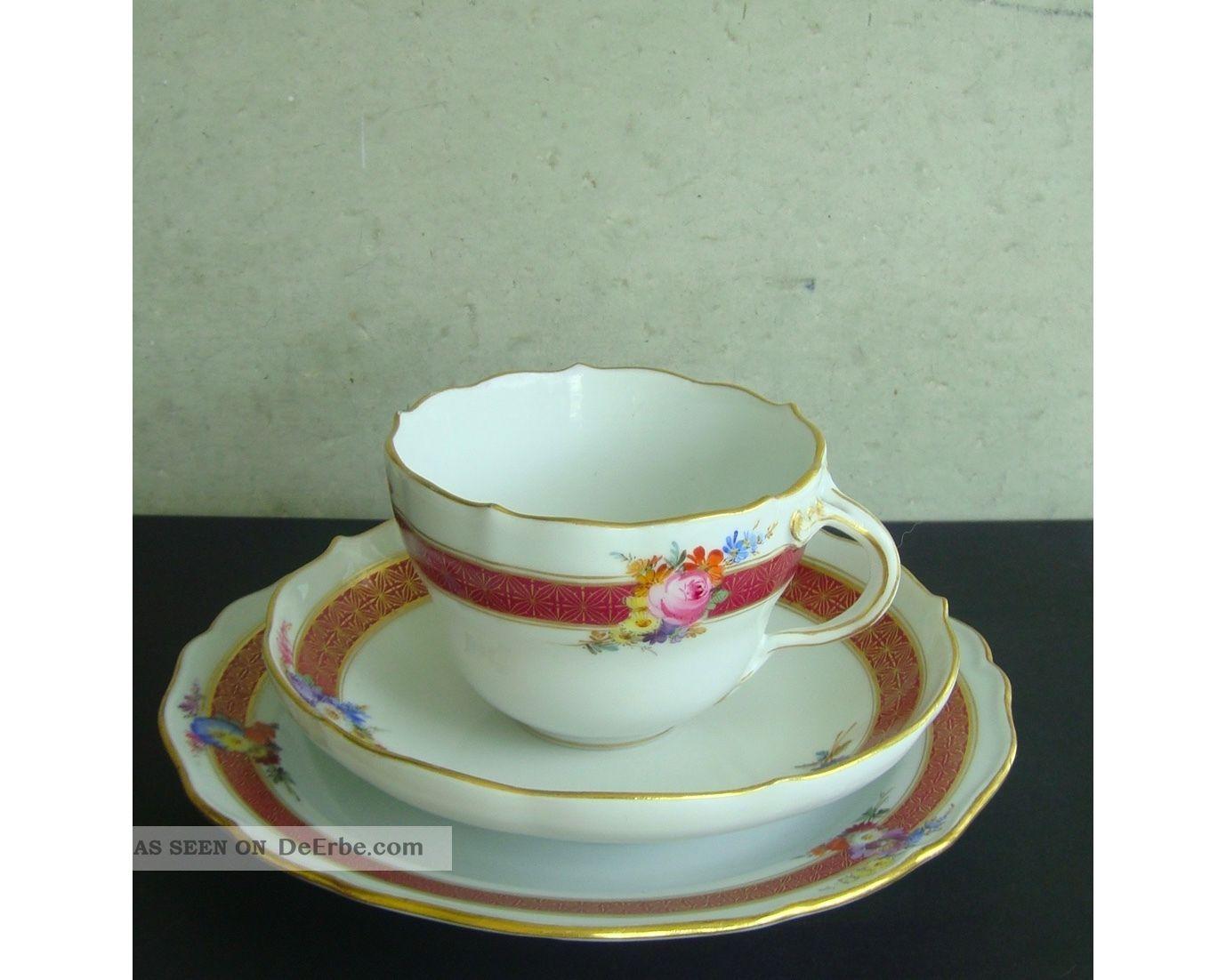 3 - Teiliges Kaffeegedeck,  Meissner Porzellan,  Mit Goldrand,  Borte Und Blumendekor Meissen Bild
