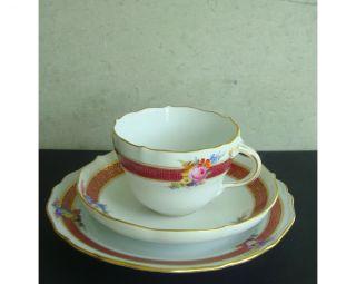3 - Teiliges Kaffeegedeck,  Meissner Porzellan,  Mit Goldrand,  Borte Und Blumendekor Bild