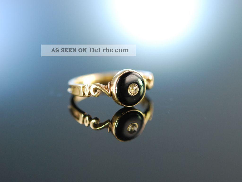 Erinnerungsring England Um 1850 Liebes Ring Gold 375 Diamant Onyx Ringe Bild