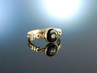 Erinnerungsring England Um 1850 Liebes Ring Gold 375 Diamant Onyx Bild