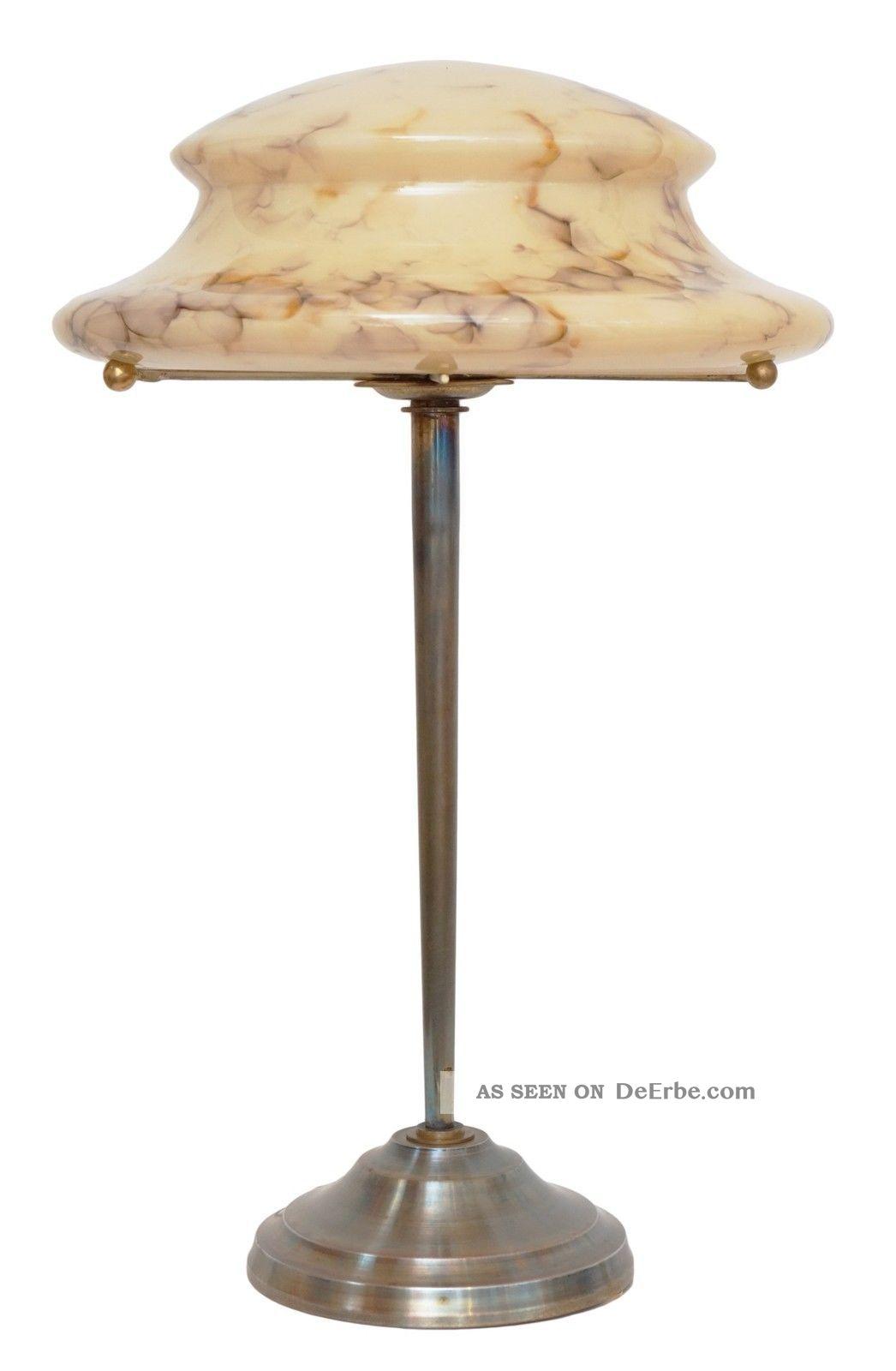 Einzelstück Sehr Elegante Art Déco Schreibtischleuchte Messing Opalglas Um 1940 Gefertigt nach 1945 Bild