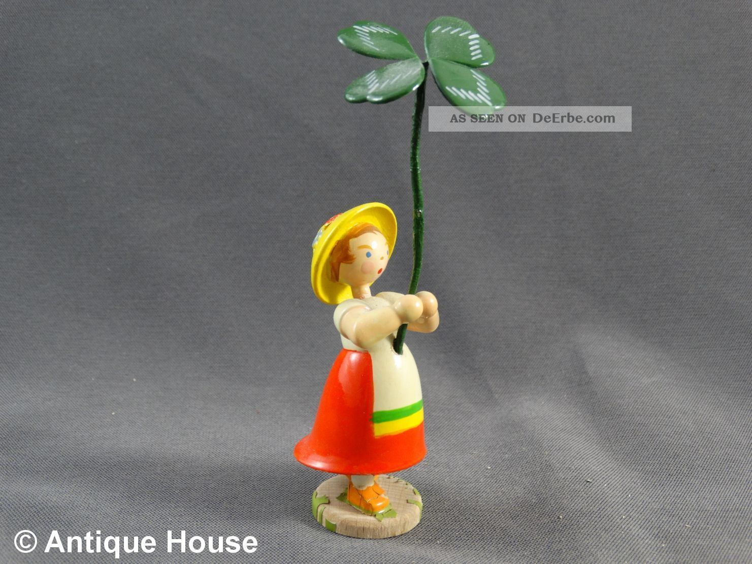 Erzgebirge We - Ha Kunst Dresden Blumenkind Mit Hut Und Kleeblatt Objekte nach 1945 Bild