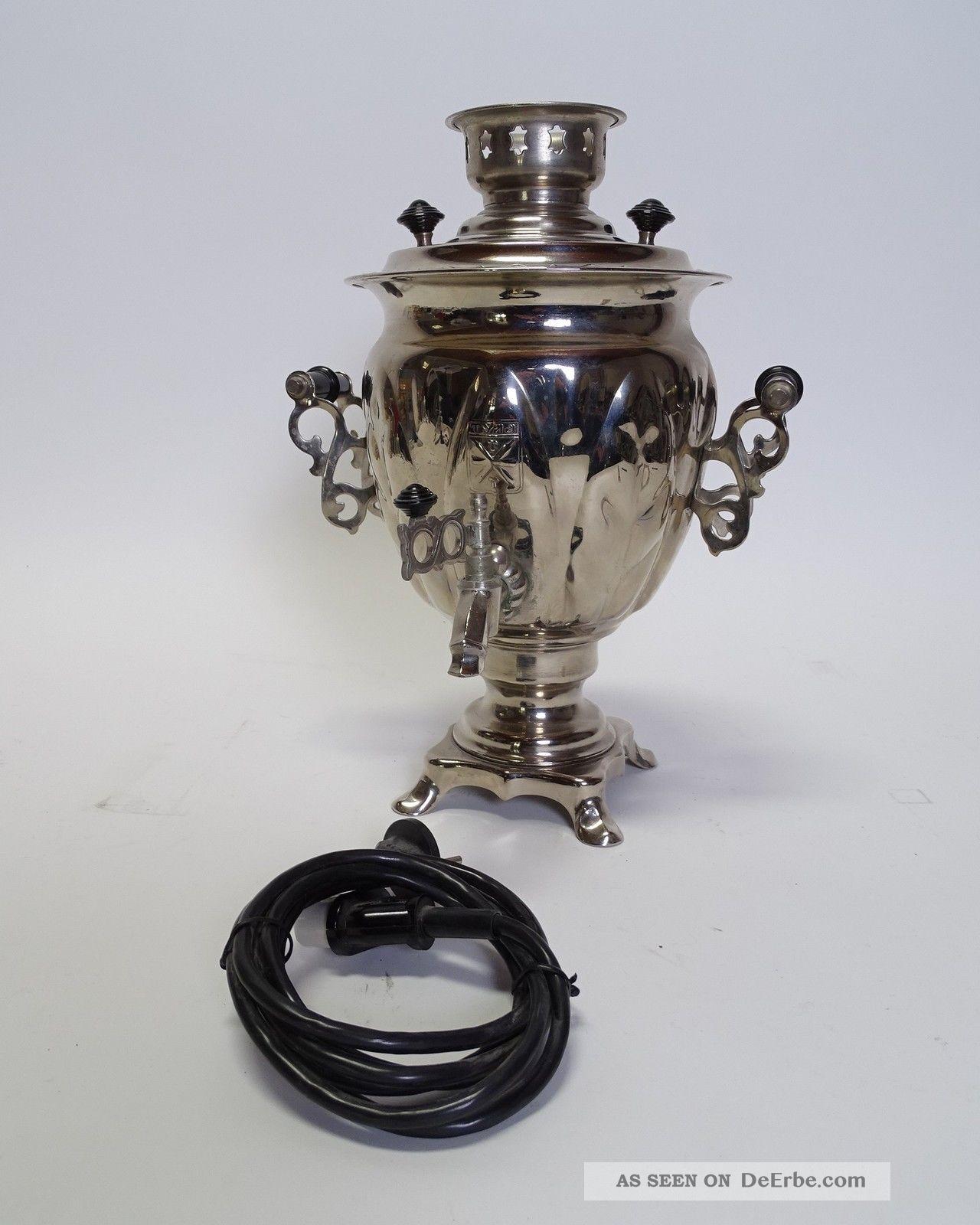 Antiker Russischer Samowar Dröppelminna Teekocher Wasserkocher Mit Kabel Gefertigt nach 1945 Bild