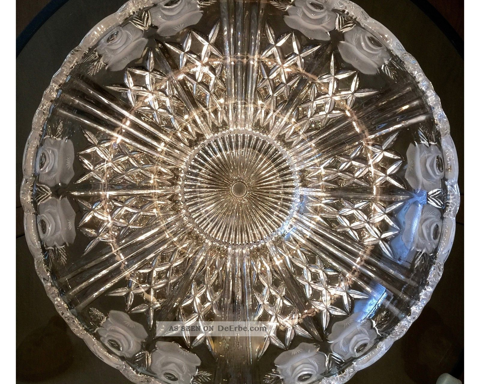 Riesige Vintage Kristall Schale Rosen Dekor 31,  5 Cm 50er Jahre Glas & Kristall Bild