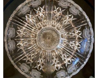 Riesige Vintage Kristall Schale Rosen Dekor 31,  5 Cm 50er Jahre Bild