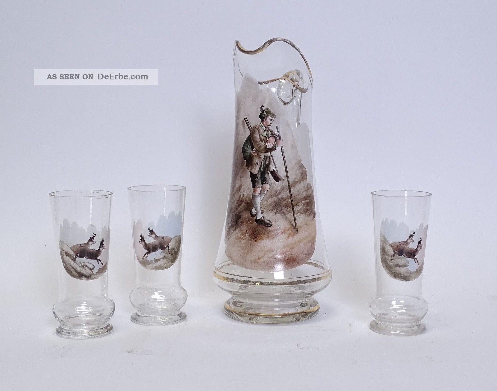 Antike Glas Schnenkkanne Motiv Förster Mit 3 Gläsern Mit Gämsen Gams Um 1900 Jagd & Fischen Bild