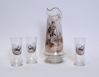Antike Glas Schnenkkanne Motiv Förster Mit 3 Gläsern Mit Gämsen Gams Um 1900 Bild