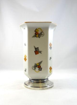 Seltene Modernist Limoges Art Deco Keramik Vase 835 Silber Montur Geometrisch Bild