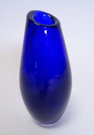 Ausgefallene 70er Jahre Design Block Glas Vase Blau Panton Ära Glasvase Bild