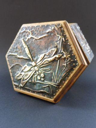 Jugendstil Libelle Dose Dragonfly Wooden Box Natur Floral Alfred Daguet Style Bild