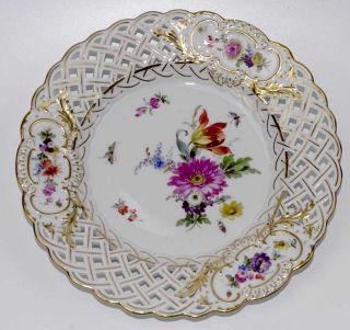 Durchbruchteller Meissen Bunte Blumen & Insekten 1.  Wahl 1850 - 1924 (20,  5cm) Top Bild