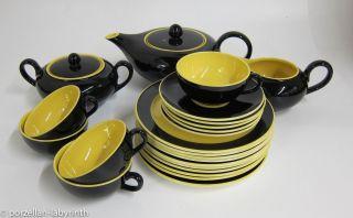 Teeservice 5 Personen Villeroy & Boch Biarritz Teekanne Teetasse Gelb Schwarz Bild