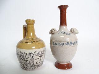 Paar Antike Alkohol Whiskey Sammler Flaschen Kannen Keramik Ausgefallenes Design Bild