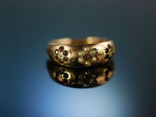 Friends Forever Historischer Band Ring England 1890 15 Ct Saat Perlen Granate Bild