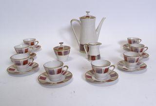 Herrliches 50er Jahre Mid Century Mokka Espresso Service Für 8 Personen Bild