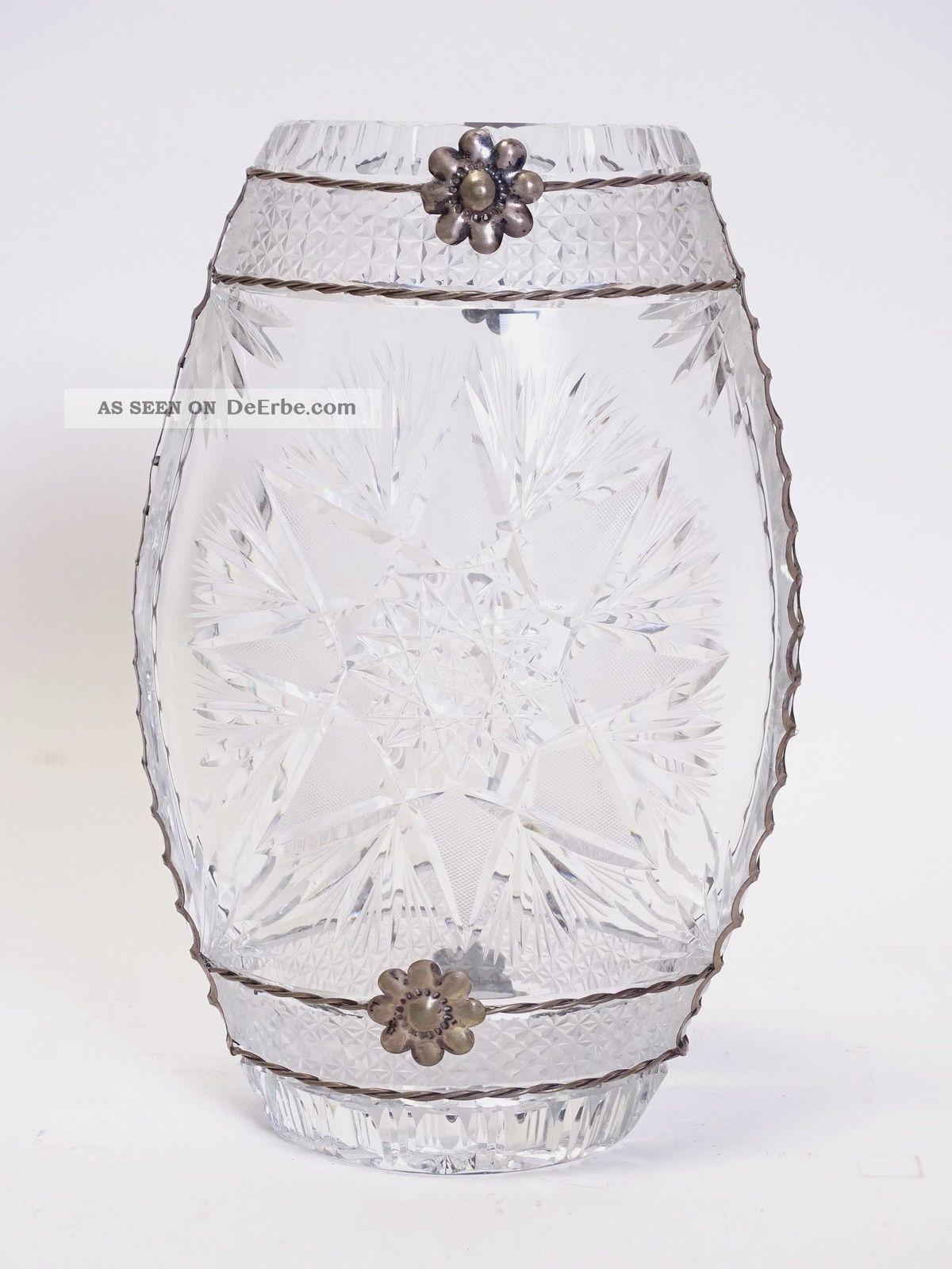 Riesige Schwere Blei Kristall Glas Vase Shabby Chic Vintage Mit Metall Montur Kristall Bild