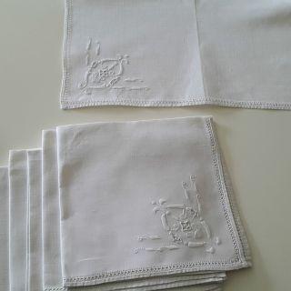 Antike Servietten Leinen Weiß Mit Weißstickerei U Hohlsaum 8 Stück Edel 40x41cm Bild