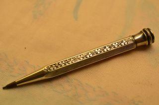 Alter Antiker Verzierter Bleistift Drehbleistift Silber 900 Bild