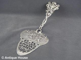 Silber 800 Großer Tortenheber Durchbrochen Gearbeitet Bäuerliche Szene 75g Bild