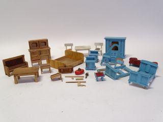 Großes Konvolut 50er Jahre Puppenstube Möbel Holz Vintage Puppen Raritäten Bild