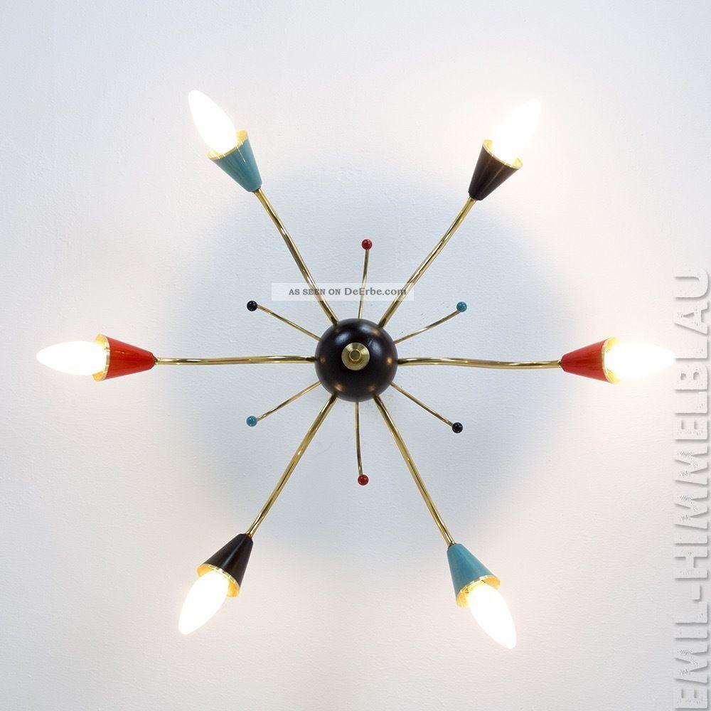 Sputnik 6 - Armig Decken Pendel Lampe 50er Rot Schwarz Spinne Rockabilly Vintage 1950-1959 Bild