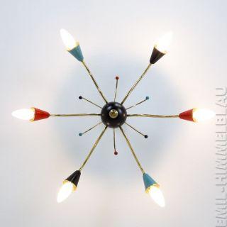 Sputnik 6 - Armig Decken Pendel Lampe 50er Rot Schwarz Spinne Rockabilly Vintage Bild