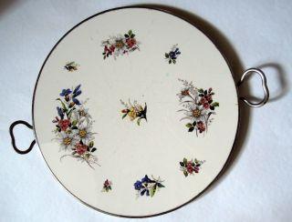 Runde Art Deco Tortenplatte Kuchenplatte Henkelplatte Chrom Keramik Handbemalt Bild