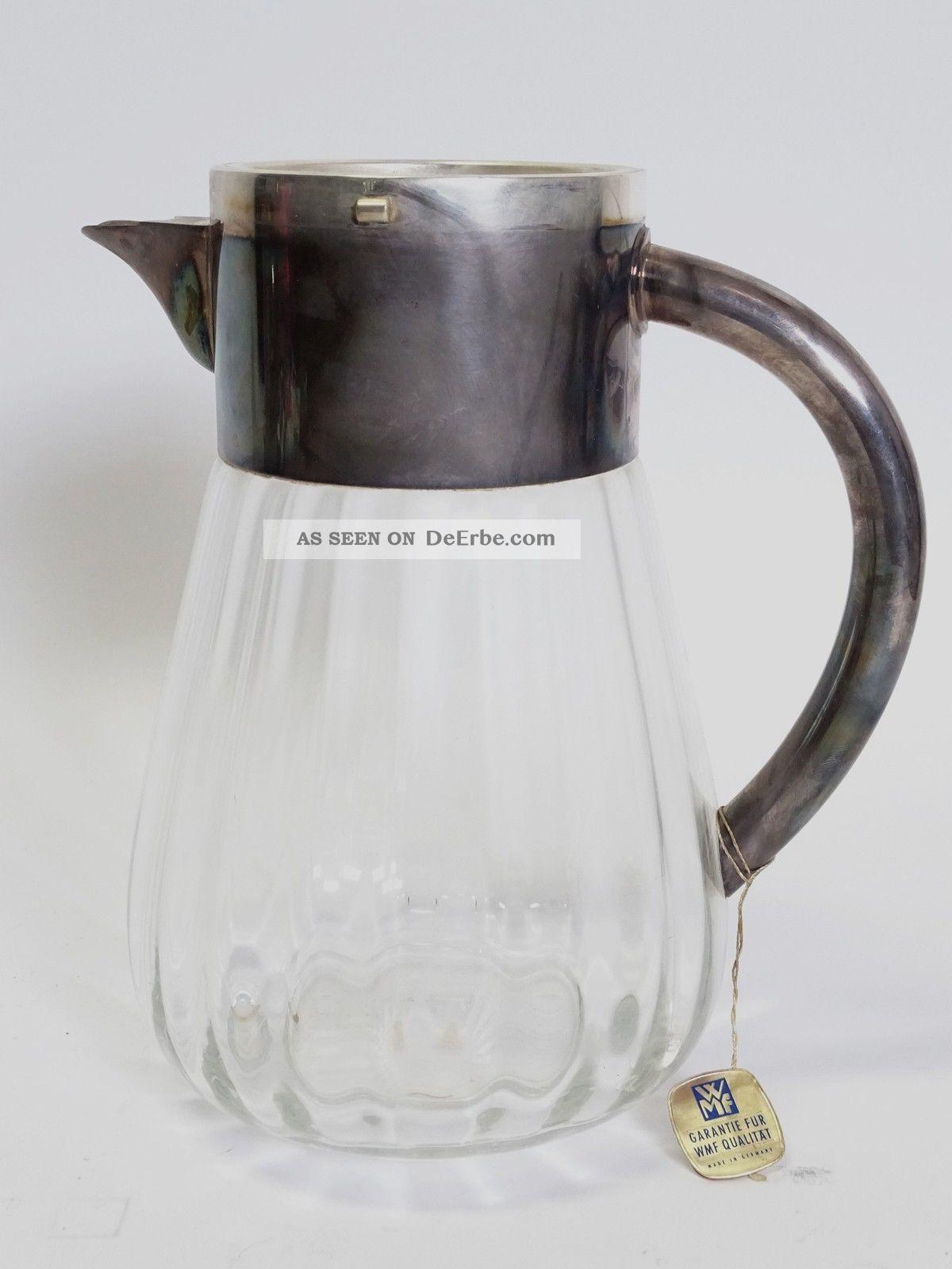Vintage Wmf Kalte Ente Blei Kristall Glas Karaffe Mit Kühleinsatz Kristall Bild