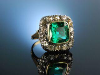 Wien Um 1880 Grosser Ring Antik Gold 585 Diamant Rosen GrÜne Glas Paste Antique Bild