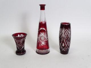 3 Teile Konvolut Böhmisches Rotes Blei Kristall Glas Überfang Herrlicher Schliff Bild