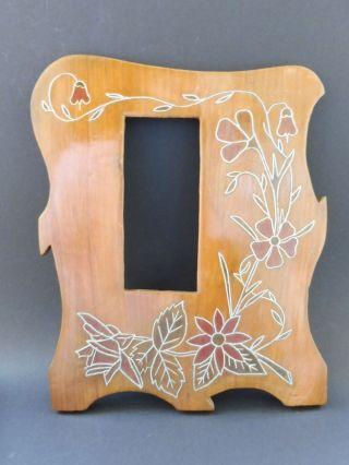 Jugendstil Holz Rahmen Einlage Intarsien Floral Art Nouveau Marquetry Wood Frame Bild