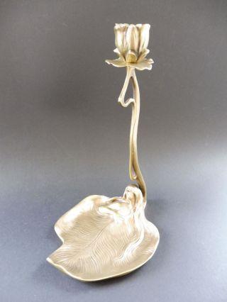 Wiener Bronze Bermann Jugendstil Maiden Leuchter Seerose Lily Art Nouveau Kj Wmf Bild