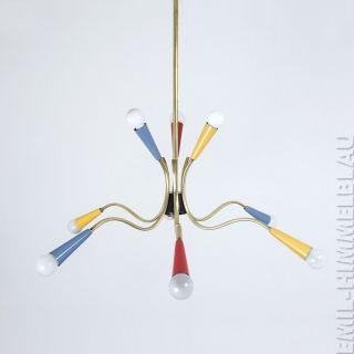 Sputnik 9 - Armig Decken Pendel Lampe 50er Spinne Rockabilly Vintage Bunt Bild