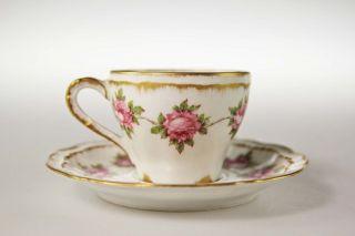 Theodore Haviland Limoges Mokka - Pink Roses Double Gold Demitasse & Saucer 1910 Bild