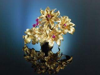 Feinste BlÜten Brosche Gold 750 Rubine Italien Um 1955 Vintage Flower Brooch Bild