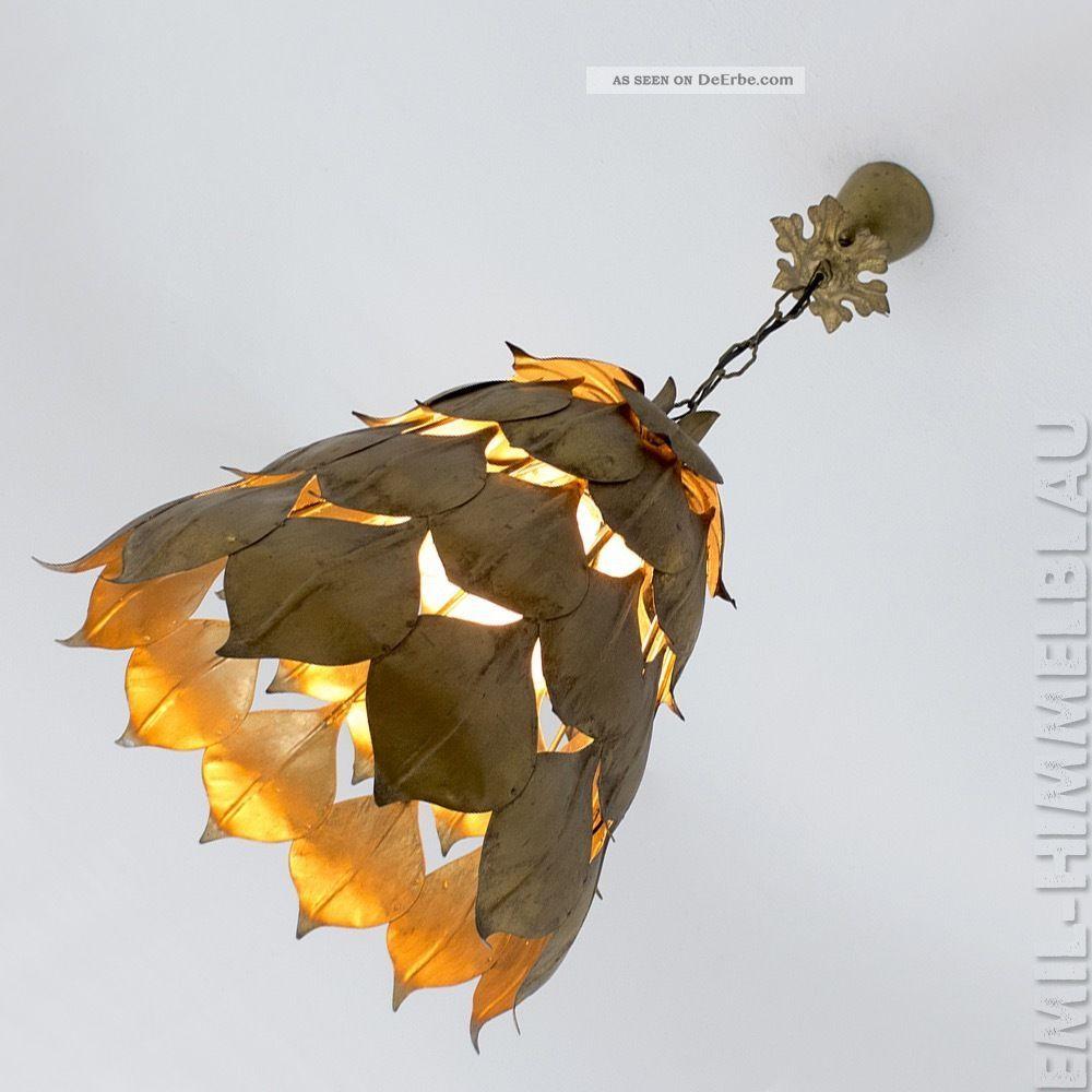 Lampe Eisen Blattgold Lamp Vintage Gold Leaf BlÄtter Artischocke Hollywood 1960-1969 Bild
