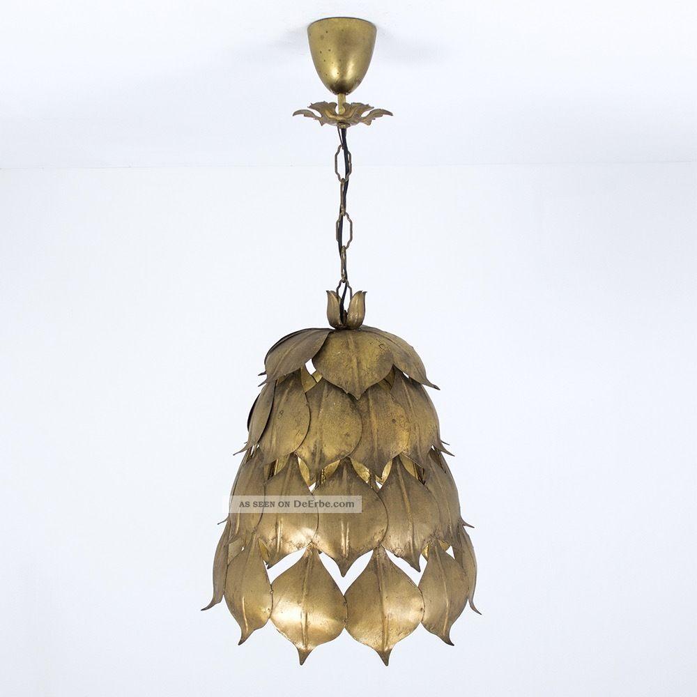 lampe eisen blattgold lamp vintage gold leaf bl tter artischocke hollywood. Black Bedroom Furniture Sets. Home Design Ideas