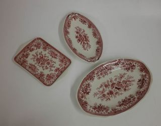 2 X Platte,  1 Schale Villeroy & Boch Fasan Rot Bild
