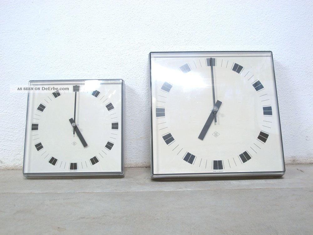 2x Uhr Wanduhr Tn Nebenuhr 60s Fabrikuhr Industrieuhr Industrial Style 1960-1969 Bild