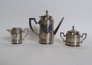 Antiker 3 - Teiliger Art Déco Kaffeekern Metall Kaffee Milch Zucker Dose Kanne Bild
