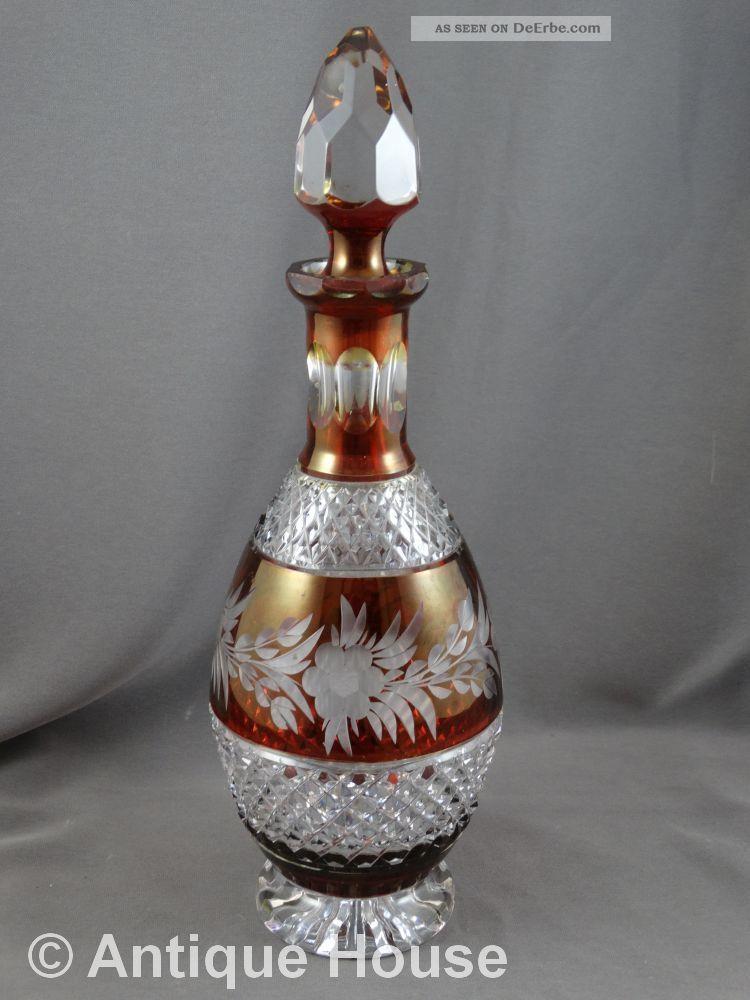 Kristallglas Karaffe Rot überfangen Geschliffenes Blumendekor Kristall Bild