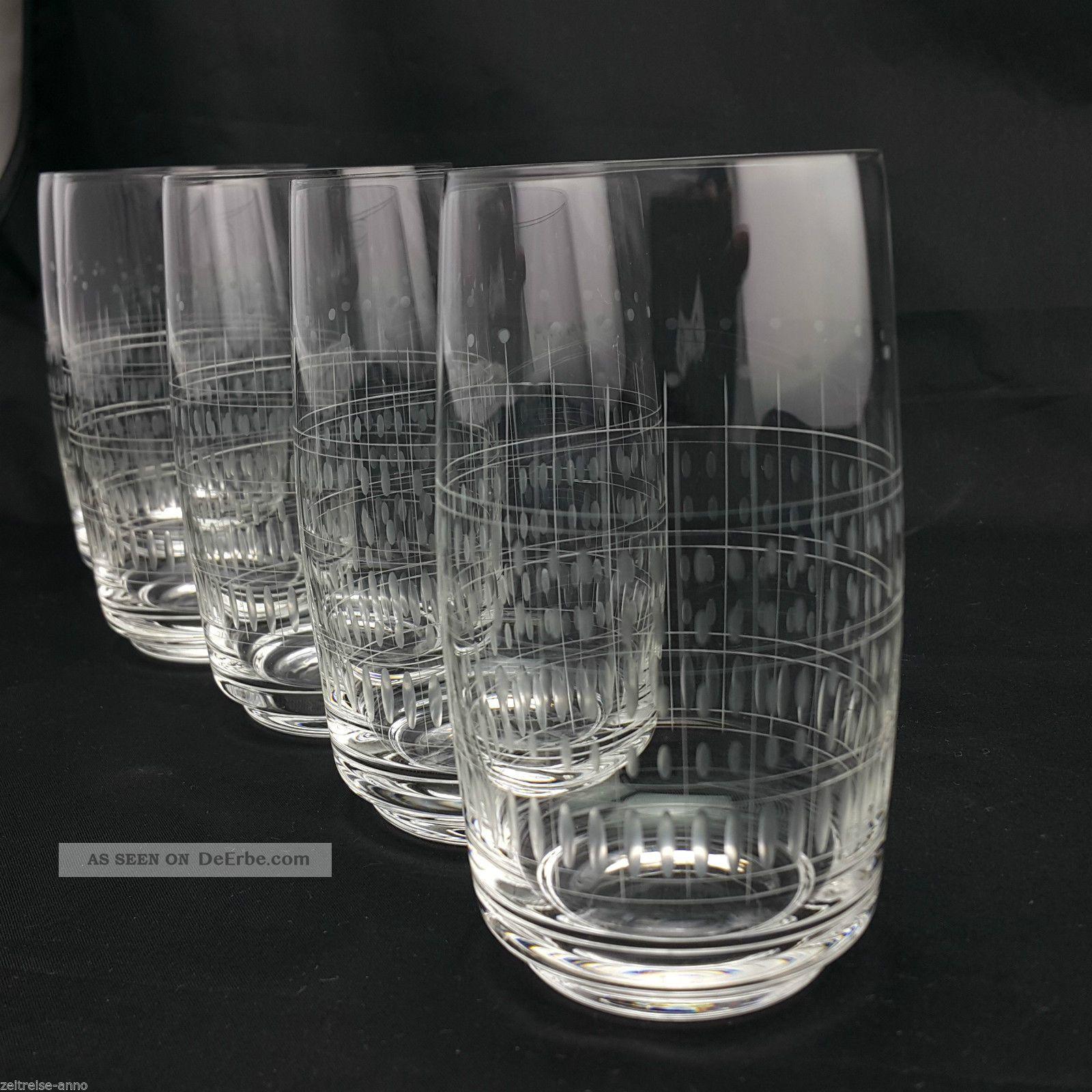 5 Alte Kristall Wassergläser Saftgläser Dünnwandig Feiner Streifen Olivenschliff Kristall Bild
