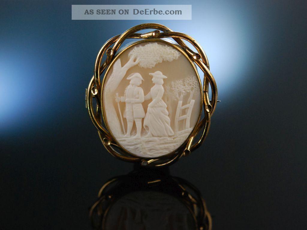 Antike Muschel Gemmen Brosche Kamee Galantes Paar England Um1860 Victorian Cameo Schmuck nach Epochen Bild