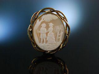 Antike Muschel Gemmen Brosche Kamee Galantes Paar England Um1860 Victorian Cameo Bild