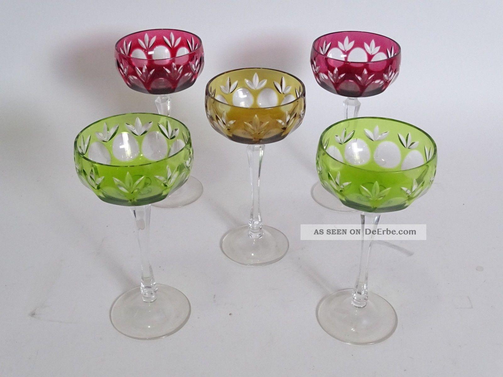 Konvolut 5 Herrliche Gläser Antik Bleikristall Champagner Ausgefallenen Farben Kristall Bild